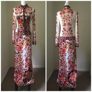 Vtg 70's Floral Button-front Maxi Gown